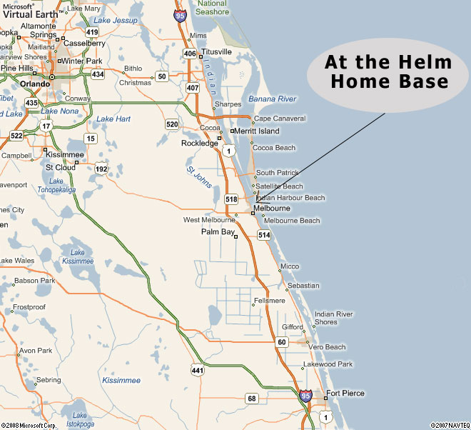 Map Of Melbourne Beach Florida.At The Helm Sailing Charters Serves Cocoa Beach Fl